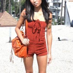 American Apparel Rust Orange Terry Cloth Romper XL